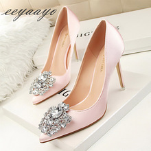 2019 New Spring/Autumn Women Pumps High Thin Heel Pointed Toe Slip On Shallow Sexy Elegant Crystal Women Shoes Pink High Heels
