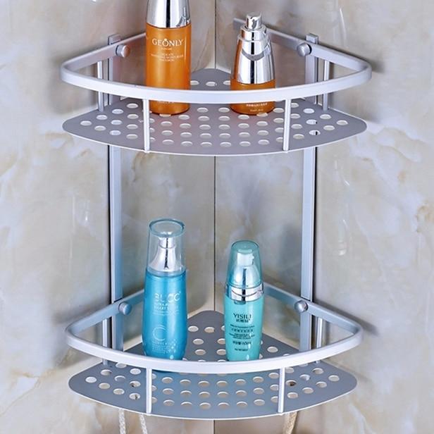 Space Aluminum Bathroom Shelf Corner Wall Storage Rack Toilet ...