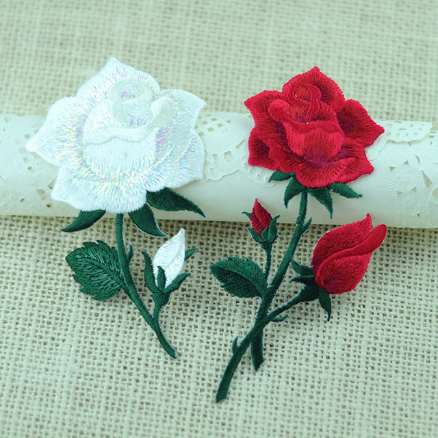 5PCS/ Lot Rose Flower Lace Fabric/ Applique Lace Patch Embroidered Small  Decorative Accessories Fill