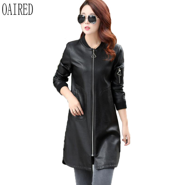 980e7de29f4 OAIRED Plus Size Leather Coat Women 2018 New Leather Jacket Women Outerwear  Long Slim Motorcycle Female Leather Clothing Black-in Leather   Suede from  ...