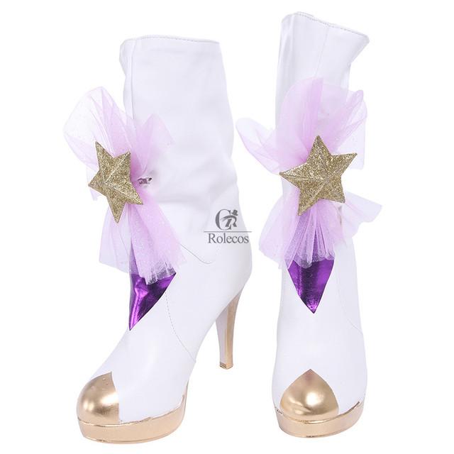 Rolecos marca zapatos zapatos cospaly star tutor juego lol janna magical girl cosplay zapatos janna púrpura zapatos de tacón alto