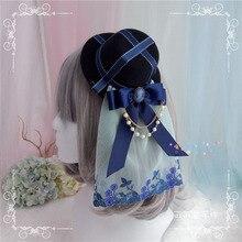 Лолита ручной работы Сумерки Ретро британский черный шляпа Топ японский сладкий мать мягкая сестра cos
