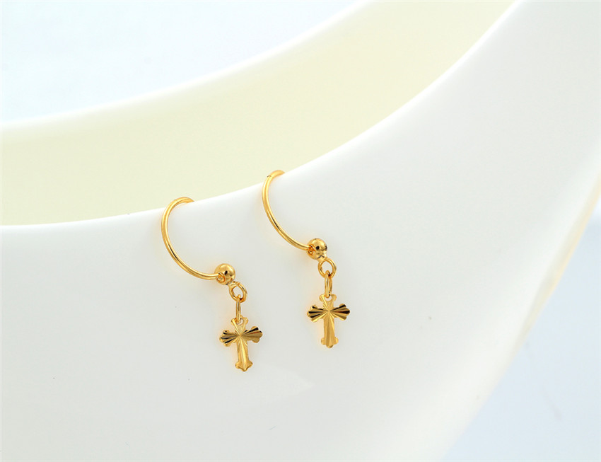 Yellow Gold Plated Carved Cross Charm Drop Small Huggie Hoop Earrings For Womens Piercing Body Jewelry S Gift In From