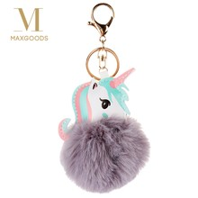 Pompom Unicorn Keychain Rabbit Fur Ball Horse Key chain porte clef Bag Car Keyring llavero mujer chaveiros sleutelhanger trinket(China)