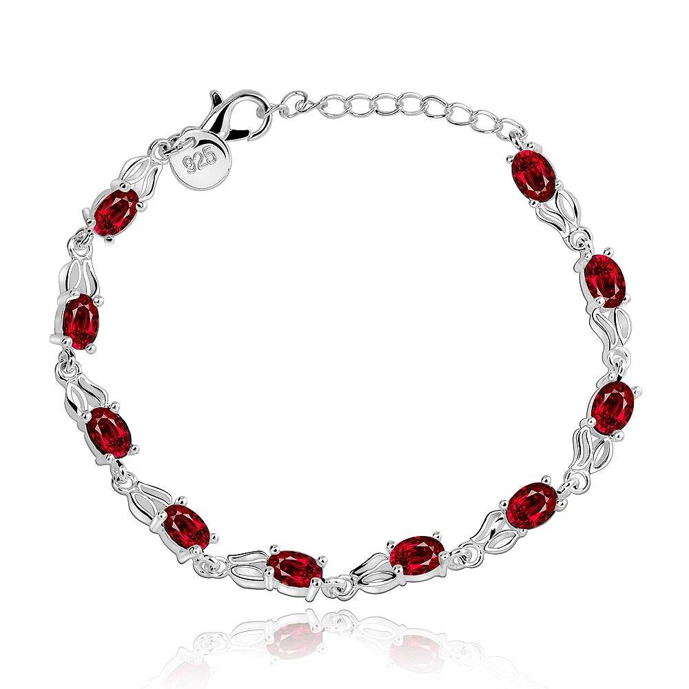 Red Round Cubic Zirconia Stone Fashion Bracelets For Women Silver Jewelry Best Gift For Girls (BA102156)