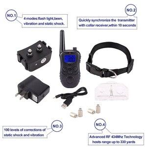 Image 3 - Collares de entrenamiento para perro electrónico con control remoto, pantalla LCD azul recargable, 300 niveles, perro electrónico, novedad de 100 M