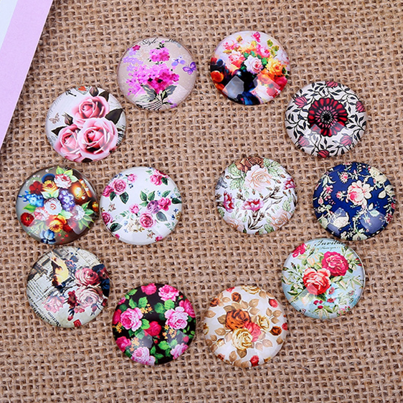 24pcs 12/14/16mm New Fashion Mixed Flower Rose Handmade Photo Glass Cabochons Pattern Domed Jewelry Making Accessories Supplies