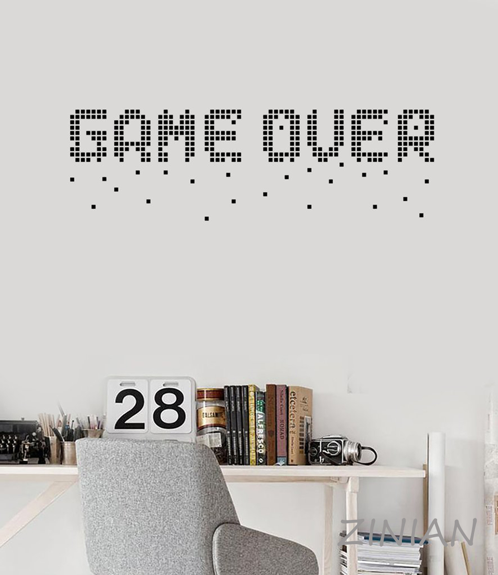 Game Over Pixel Art Decals Mural Video Games Gamer Room Decoration Vinyl Wall Stickers Home Decor Living Room Funny Quotes Z559