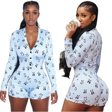 hot deal buy sexy panda printing button rompers womens jumpsuit bodysuit women combinaison femme macacao feminino short body mujer rompers