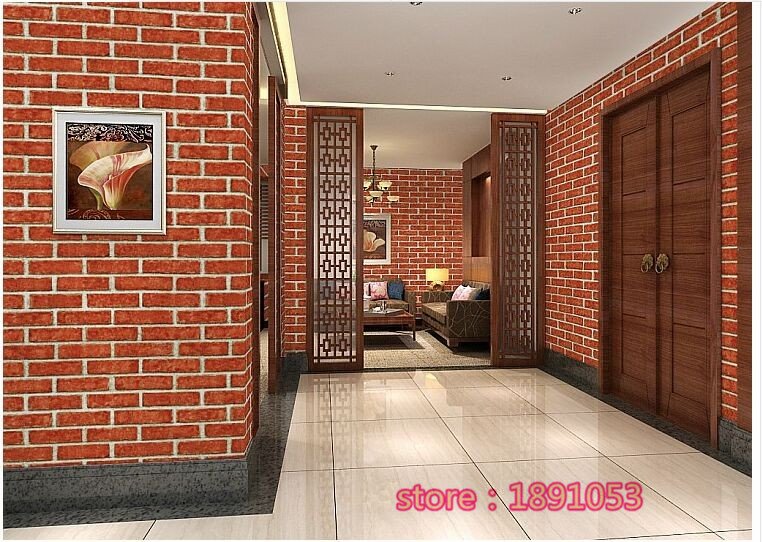 ФОТО 3D wallpaper bedroom living room dining backdrop wall brick wallpaper pattern simulation solid red brick wall stickers