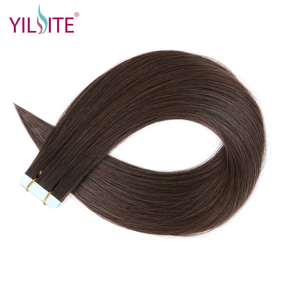 Yilite 16inch Double Drawn Full Cuticle Darkest Brown Remy Hair, European Human Hair Tape in Extensions Last Over One Year