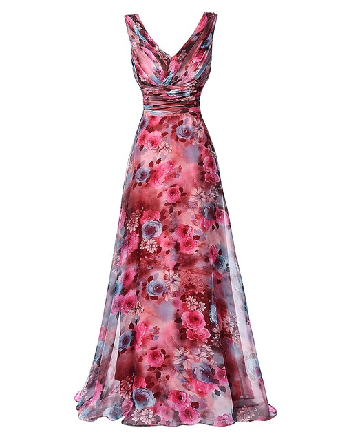 bbe3249904 Chino estampado de flores de noche vestidos largo Vestido Formal Sexy Two  hombro gasa estampado de