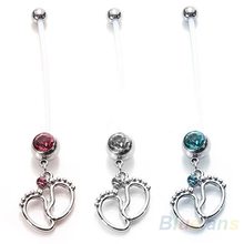 Flexible Navel Piercing Pregnancy Maternity Bar Ring Body Belly Piercing Baby Feet 06E3