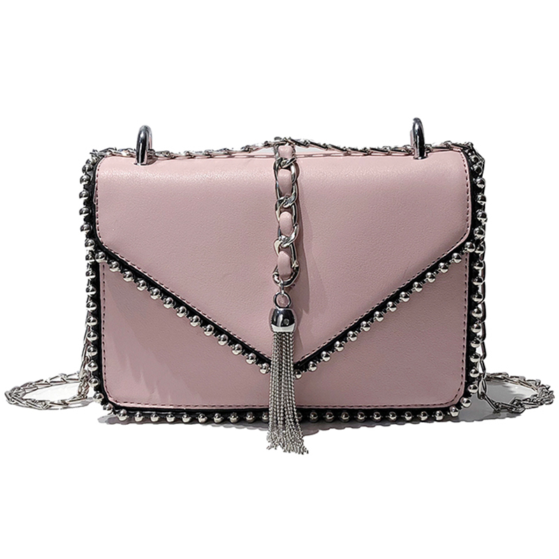 Womens new fashion leather shoulder chain small party bag Japan and South Korea leather cross shoulder handbagWomens new fashion leather shoulder chain small party bag Japan and South Korea leather cross shoulder handbag