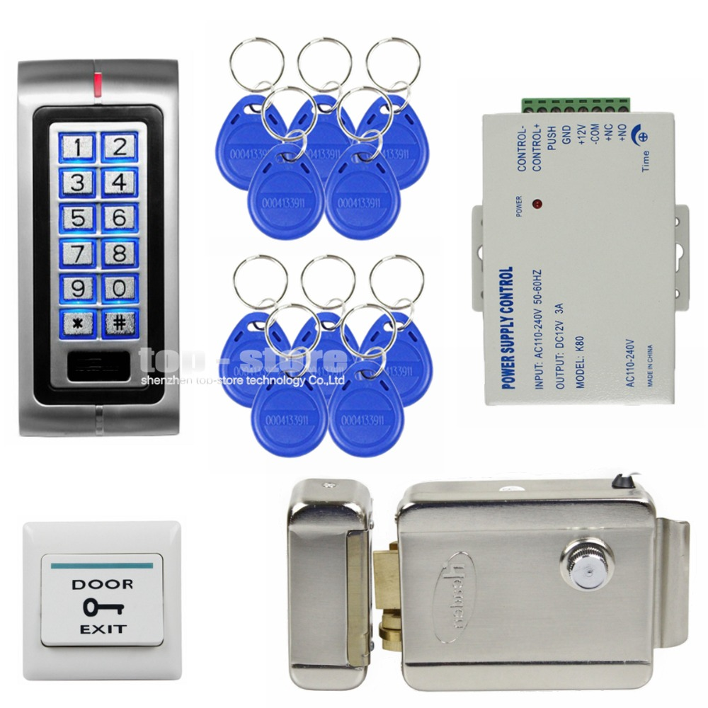 DIYSECUR 125KHz RFID Password Keypad Access Control System Security Kit + Electric Door Lock + Exit Switch K2 diysecur 125khz rfid metal case keypad door access control security system kit electric strike lock power supply 7612