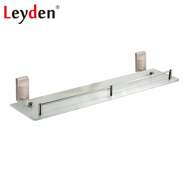Leyden Glass Bathroom Storage Shelf With Brushed Nickel Stainless