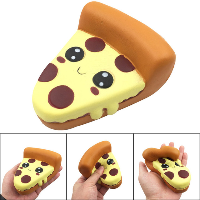 2019 New Brand Squash Anti-stress Toy 12cm Silly Squishy Funny Cartoon Pizza Charm Slow Rising Squeeze Stress Reliever Toys Y*