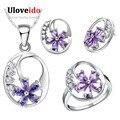 Uloveido prata banhado conjunto de jóias espumante elemento flor roxa colar brincos anéis acessórios do casamento para a menina t270