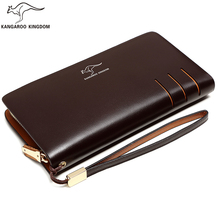 цена на KANGAROO KINGDOM fashion split leather men wallets long business male clutch purse zipper card holder wallet