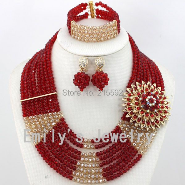 New Design Multistrand Nigerian Wedding Jewelry Set With Rhinestone Flower Women African Beads Jewelry Set Free