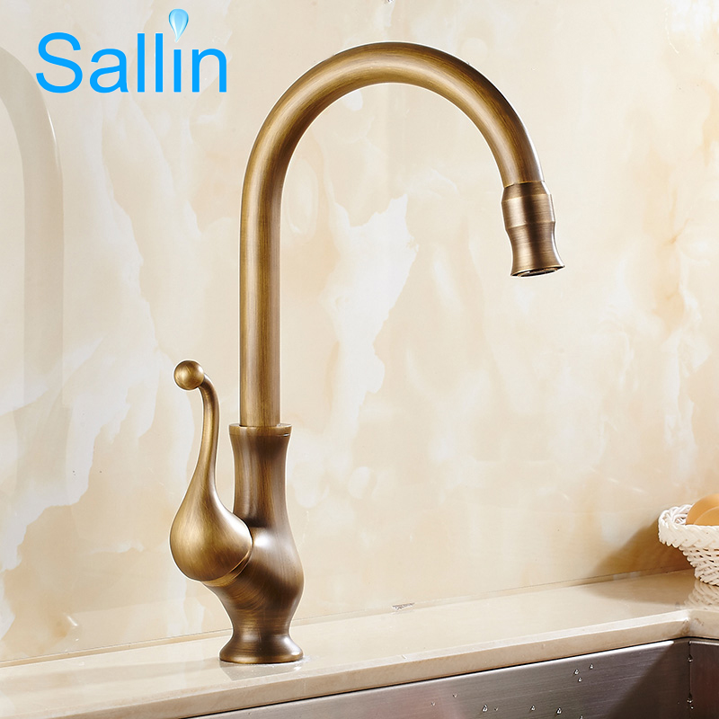 Antique Bronze Brass Kitchen Faucet Single Handle Hot and Cold Water Kitchen Sink Mixer 360 Swivel Kitchen Sink Faucet Mixer Tap antique brass kitchen faucet bronze finish water tap kitchen swivel spout vanity sink mixer tap single handle free shipping 6020