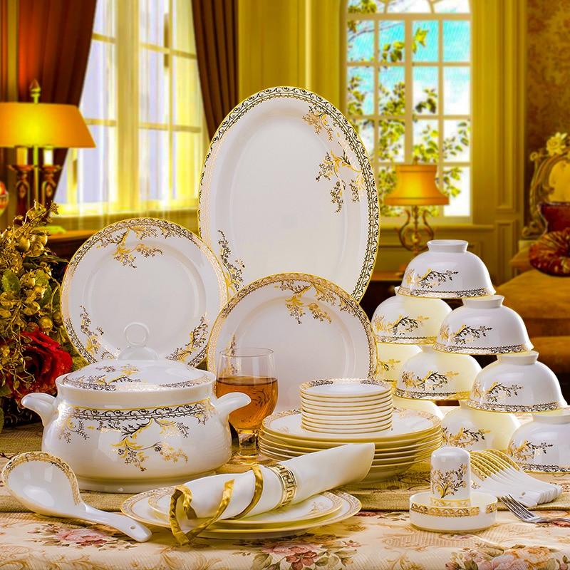 56pcs Dinnerware Set Bone China Tableware Dishes Plates Ceramic Combination Dinner Service Set