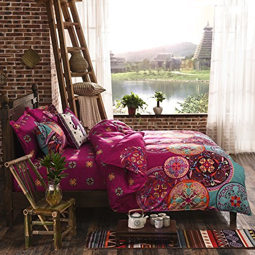 National Style Recto Prune Reversible Duvet Cover With Pillow Sham Boho Mandala Bedding Set