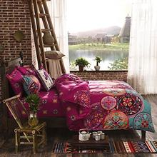 National Style Recto Prune Reversible Duvet Cover with Pillow Sham Boho Mandala Bedding Set(China)