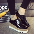 japanned leather women platform shoes lace up carve brogue shoes woman brand designer creepers gold/silver/black flat shoes