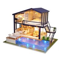 New Girl DIY 3D Wooden Mini Dollhouse 2018 Time Apartment Doll House Furniture Educational Toys Furniture For children Love Gift