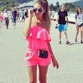 2016 Мода Комбинезон Летние Женщины Комбинезон Sexy Комбинезоны Повседневная Пляж Комбинезоны Без Бретелек Шорты