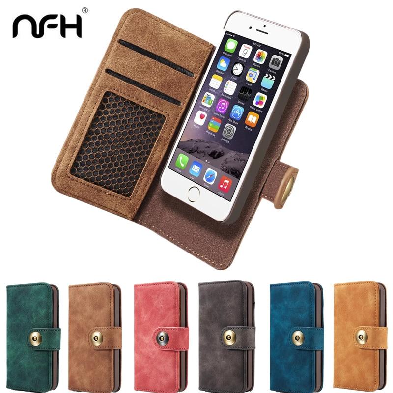 NFH klassiskt märke av läderfodral för iPhone 6 6S Plus 7 7 Plus - Reservdelar och tillbehör för mobiltelefoner - Foto 1