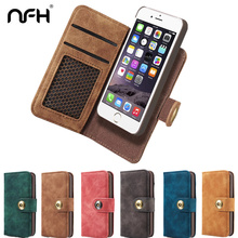 NFH Classic Brand Leather Flip Case for iPhone 6 6S Plus 7 7 Plus Luxury Wallet