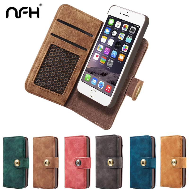 NFH Classic Brand Leather Flip Case for iPhone 6 6S Plus 7 7 Plus Luxury font
