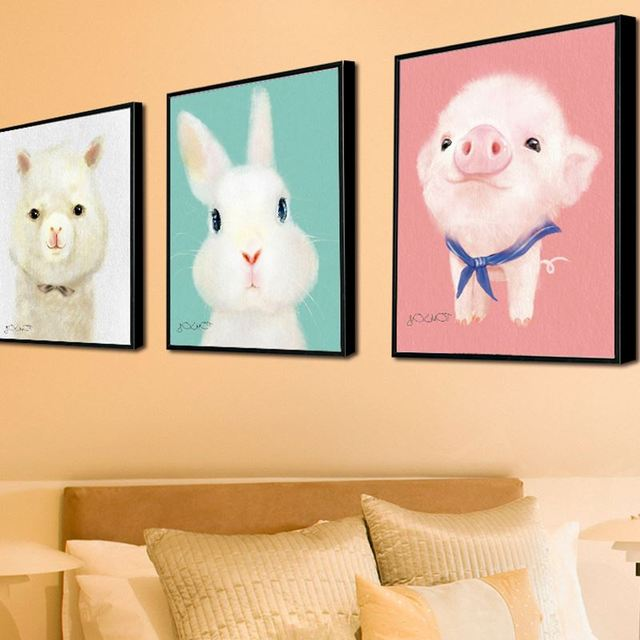 Kawaii Animal Piggy Poster Print Modern Nordic Cartoon Nursery Wall ...