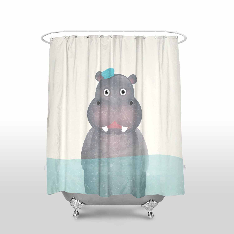 Home Shower Stall Curtains Cartoon Animal Funny Hippo Waterproof Bathroom Curtain