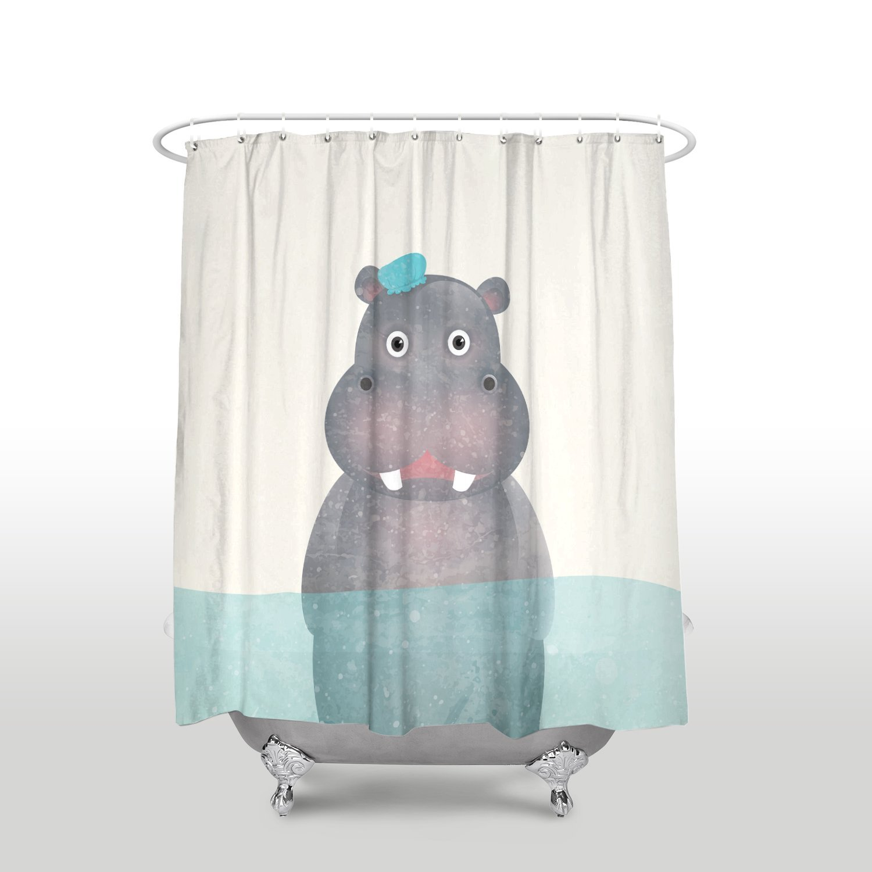 Home Shower Stall Curtains Cartoon Animal Funny Hippo Waterproof Bathroom Curtain Shower Curtains Aliexpress
