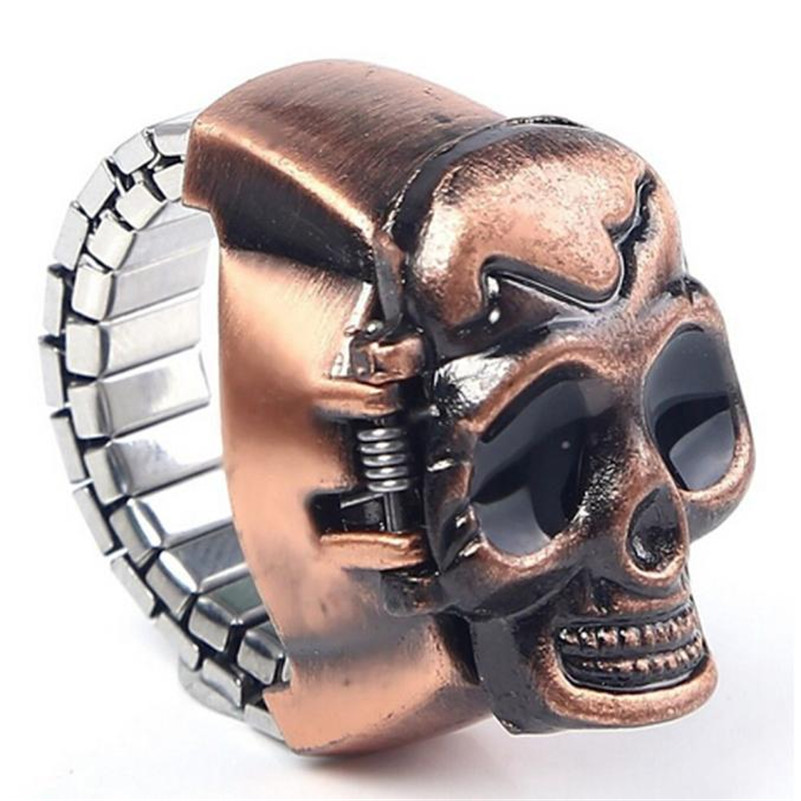 Fashion Uni Retro Vintage Finger Skull Ring Watch Clamshell Watch Men women Pocket Watces relogio masculino wholesale A20