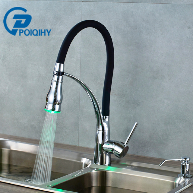 POIQIHY Led Chrome Sink Kitchen Faucet With 220ml Dispenser Pull Down Modern  Swivel Kitchen Mixer Taps