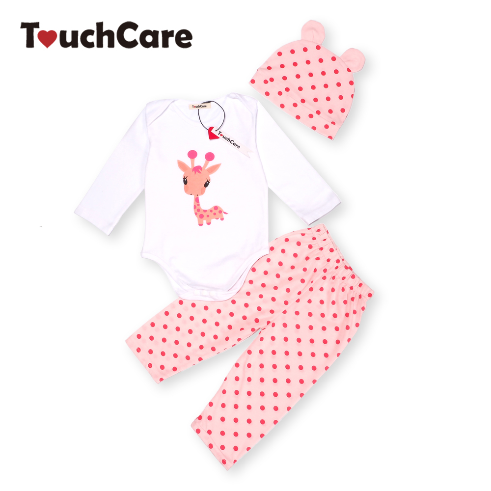 3PCS Rompers Hat Pants Baby Boys Girls Clothing Set Cute Cartoon Animal Toddler Jumpsuit Infant Cotton
