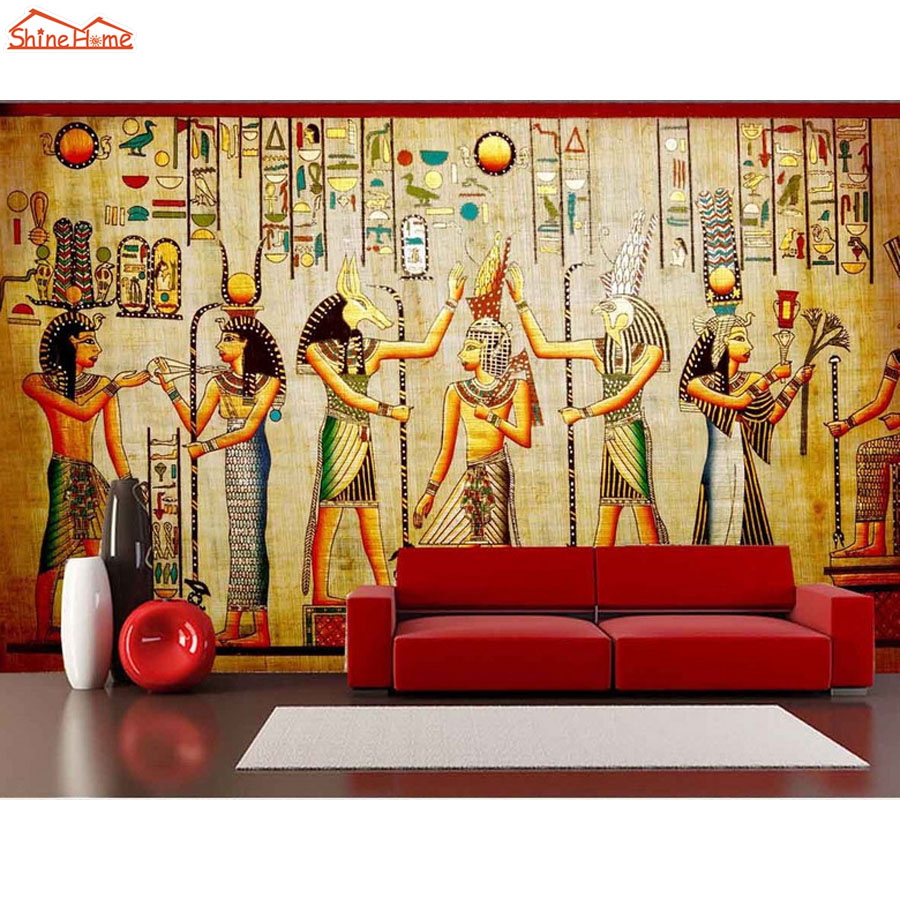 Shinehome classical egyptian dancing figures vintage room for Antique mural wallpaper