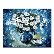WONZOM Blue Flowers Vase Paint By Numbers Oil Painting On Canvas With Frame Home Decor Wall Art For Living Room Acrylic