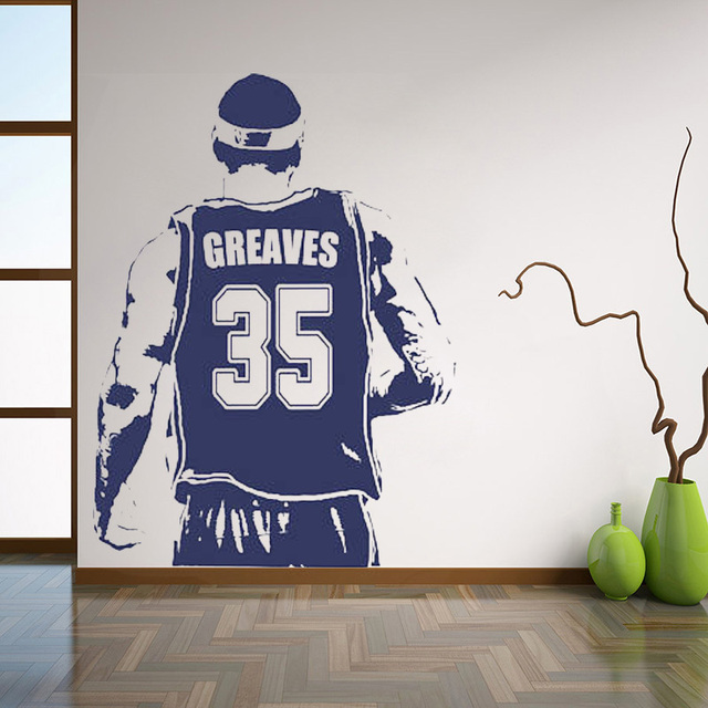 Basketball player decal custom name wall sticker choose name and jersey numbers vinyl sticker decor for