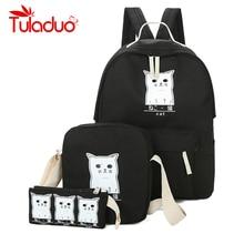 Women Backpack Cat Printing Canvas School Bags For Teenager Girls Preppy Style 3 Set/PC Rucksack Cute Book Bag Mochila Feminina