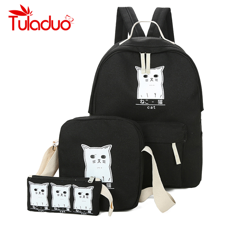 Frauen Rucksack Katze Druck Leinwand Schultaschen Für Teenager Mädchen Adrette 3 Set/PC Rucksack Nette Buch Tasche Mochila Feminina