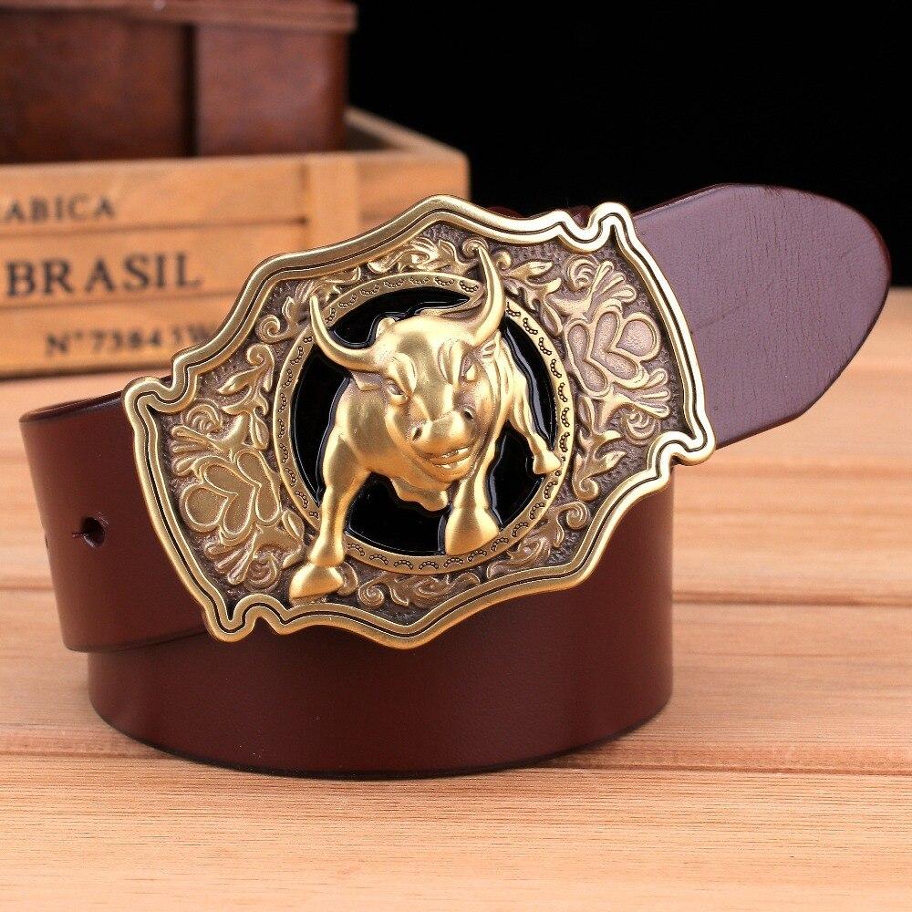 Solid Brass Buckle Full Grain Cowhide 100% Genuine Leather Designer Belt Men High Quality Mens Belts Luxury Cowboy Brown Black
