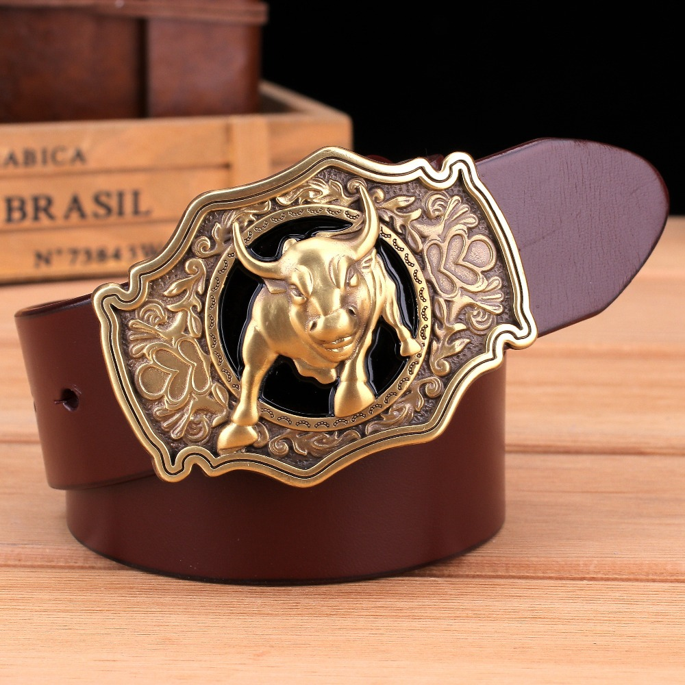 Mens Genuine Cow Hide Full Grain Leather Belt Solid Brass Buckle