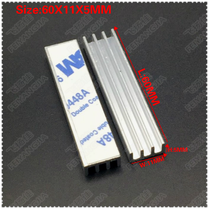 Free shipping 200pcs Silver 60x11x5mm Aluminum Heat Sink Radiator Heatsink for CPU GPU Electronic Chipset