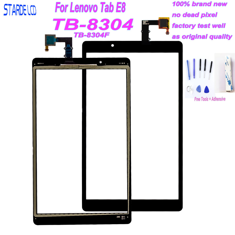 New 8 inch For Lenovo Tab E8 8 TB-8304F1 TB-8304F TB-8304 Touch Screen Digitizer Sensor Glass Tablet PC Replacement + Free Tool
