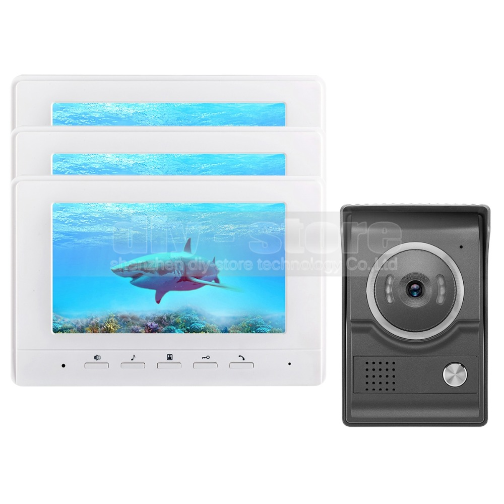 DIYSECUR 7inch Video Intercom Video Door Phone 700TV Line IR Night Vision HD Camera for Home Office Factory White 1V3